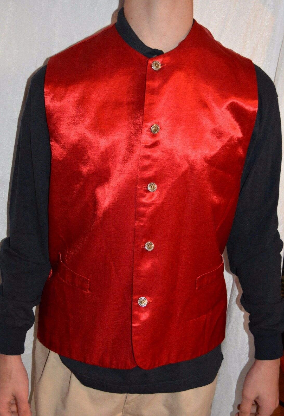 Vintage United Garment Group James Lord Button Down vest RED SHINE size S mens