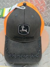 item 1 John Deere Cap hat Barb wire twill w  reflective neon blaize orang  Mesh licensed -John Deere Cap hat Barb wire twill w  reflective neon blaize  orang ... e28cbef6a83b