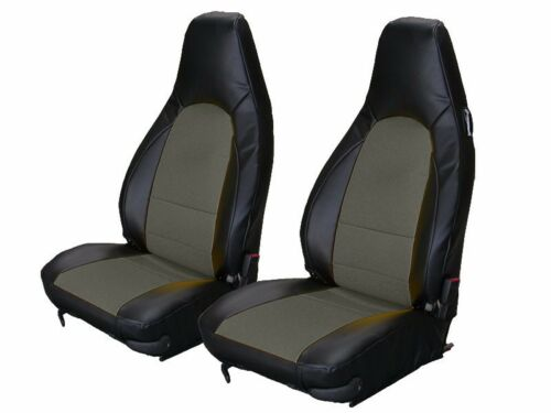 PORSCHE BOXSTER 1997-2004 BLACK//CHARCOAL S.LEATHER CUSTOM MADE FRONT SEAT COVER