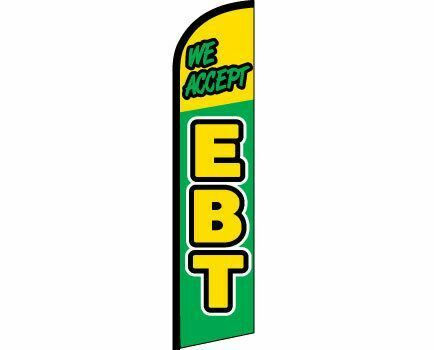 WE ACCEPT EBT Windless Full Curve Top Advertising Banner Flag Green Yellow Food