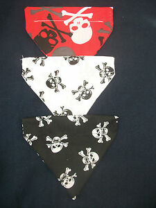 COZY-PETS-DOG-PUPPY-CAT-SKULL-X-BONES-SLIDE-ON-COLLAR-BANDANA-SIZES-XS-S-M-L-XL
