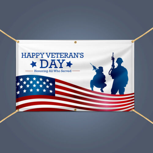 HAPPY VETERANS Day Honoring All Who Served Military Day Decor Banner PVC Sign
