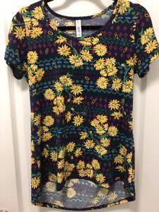 LulaRoe-Women-039-s-Classic-T-Shirt-Size-XS-Blue-Floral-Print-Top-Short-Sleeve-EUC