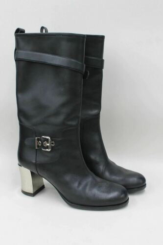 FENDI Ladies Black Leather Block Heel Buckle Mid Calf Boots Size UK7 EU40