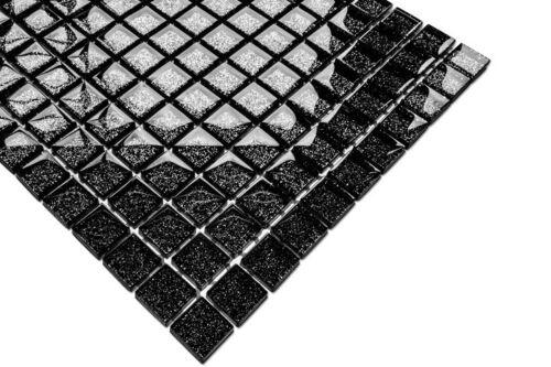 Luxe Glasmosaik Carrelage 3d Effet Noir avec Argent Paillettes Brillant Nero 8 mm