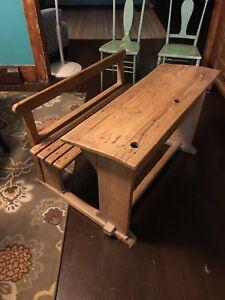 Image Is Loading Antique 1950 S European Double Seat School Desk