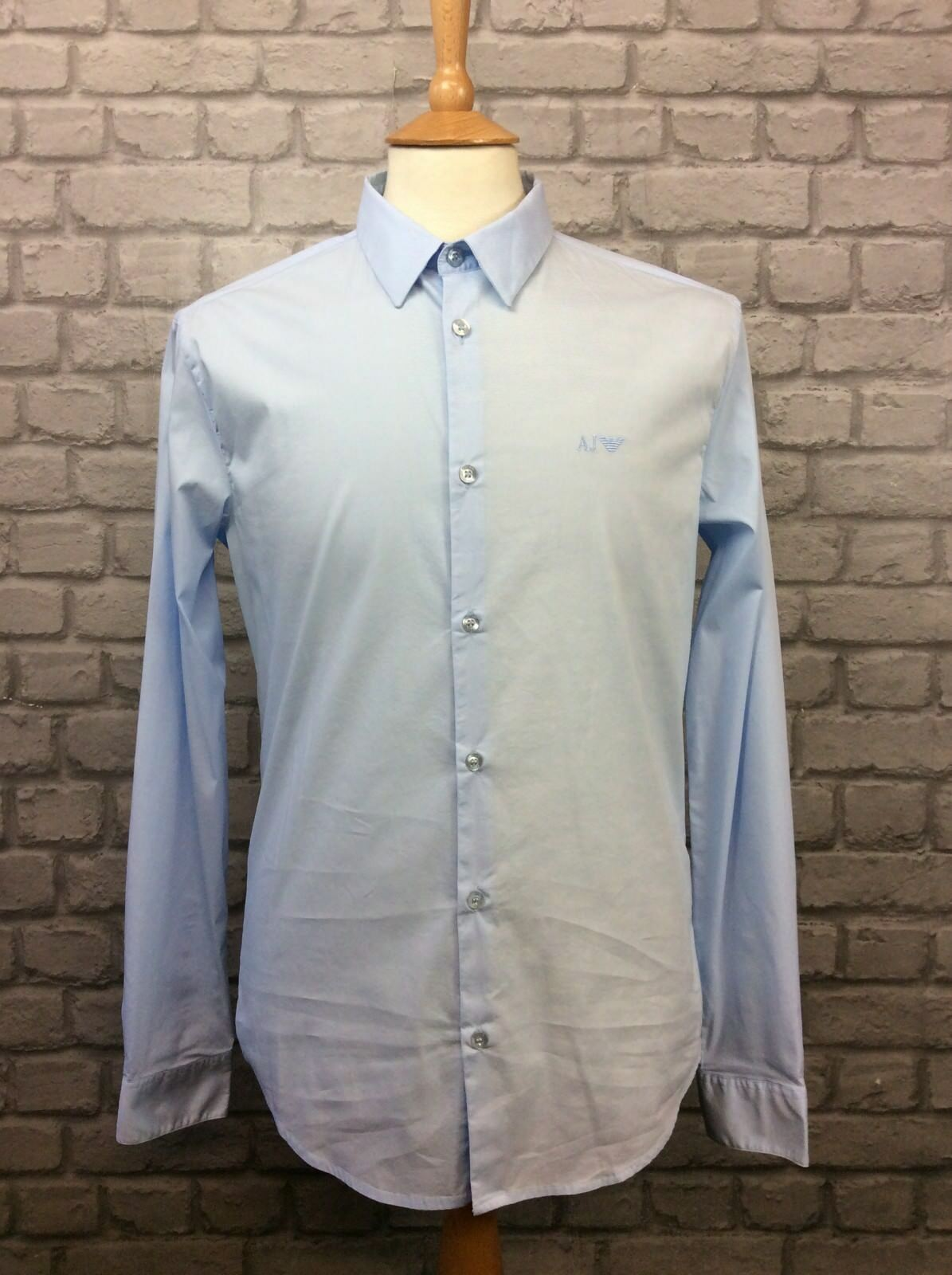 ARMARNI JEANS MENS UK L SLIM FIT SKY blueE STRETCH COTTON DETAIL SHIRT RRP