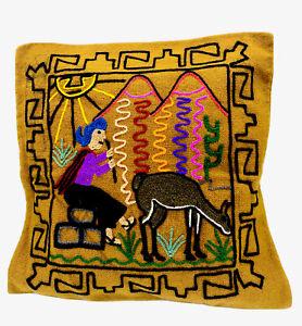 Cushion Cover Embroidered Hand Made Llama Wool Bolivia Tiwanaku Hobo Style