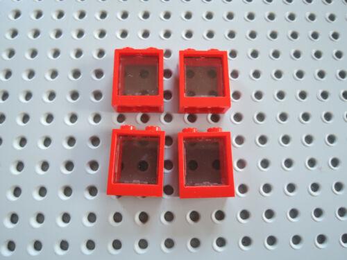 Scheibe 60601  transparent schwarz Lego 4 x  Fenster Rahmen 60592 rot 1x2x2