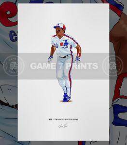 Tim Rock Raines Montreal Expos Baseball Illustrated Print Poster Art