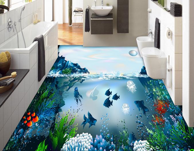 3D Moon Fish Ocean 73 Floor WallPaper Murals Wall Print Decal AJ WALLPAPER US