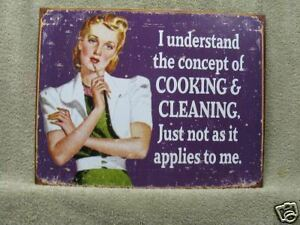 Cooking Cleaning Woman Vintage Look Novelty Tin Metal Sign NEW Funny
