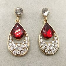 NEW Fashion crystal earrings Red Teardrop Shape Earringss AA97