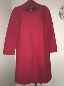 Bnwot-Designer-Marccain-Red-Boiled-Wool-Tunic-Dress-3-12-Lagenlook