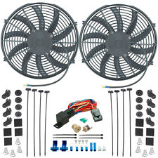 "DUAL 14"" INCH ELECTRIC POWER COOLER ENGINE FAN-S 3/8"" NPT SENSOR THERMOSTAT KIT"