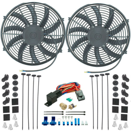 "DUAL 14/"" INCH ELECTRIC RADIATOR COOLANT FAN-S 1//8/"" NPT SIZE PROBE THERMO CAR KIT"