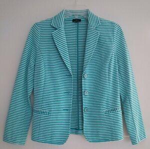 Talbots Petites Womens Jacket Blazer Size P Teal Blue Green White Stripe