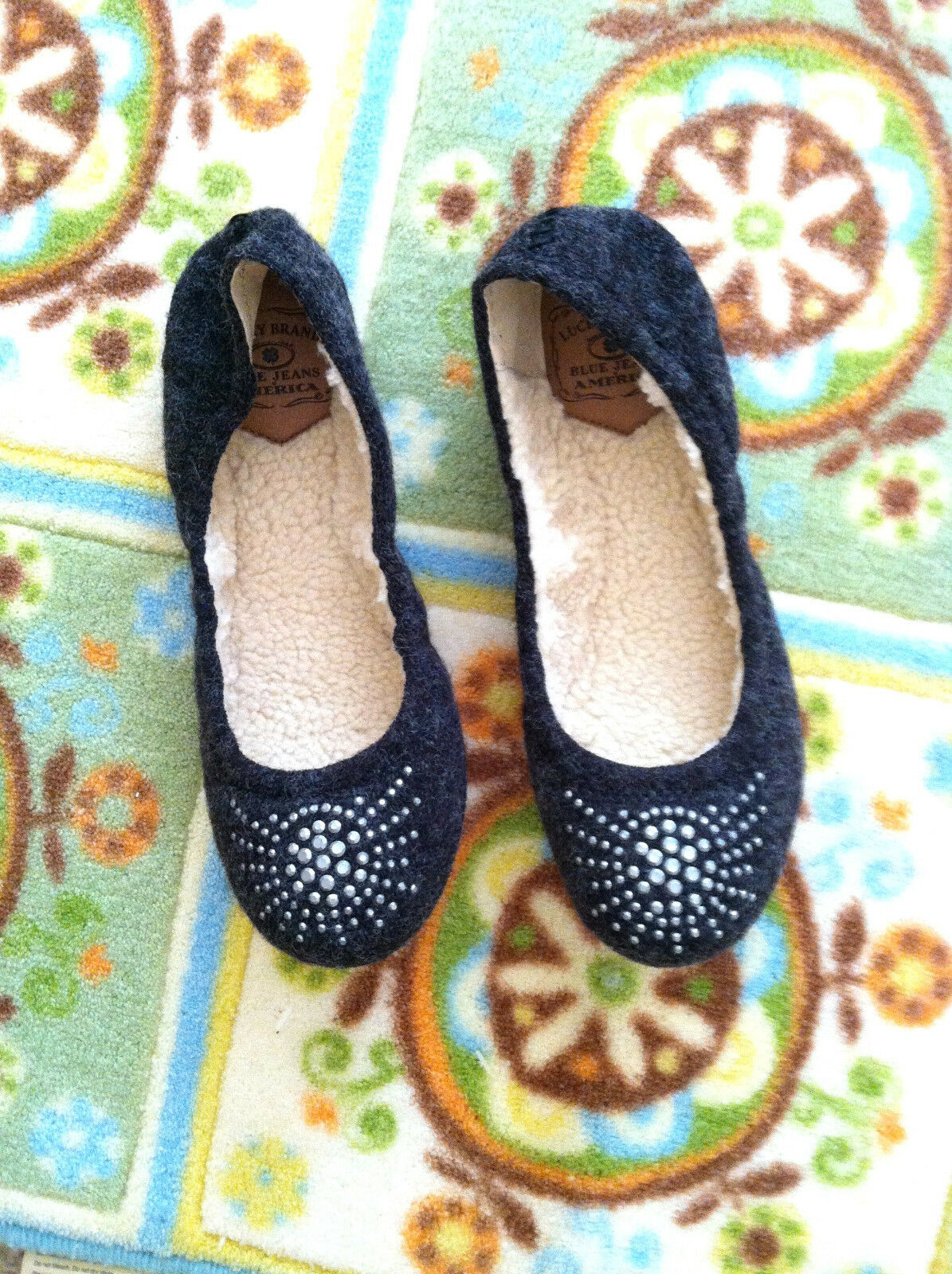 Lucky Brand Flats 7.5 M New With Box Everett Heather Knit Lined Slipper