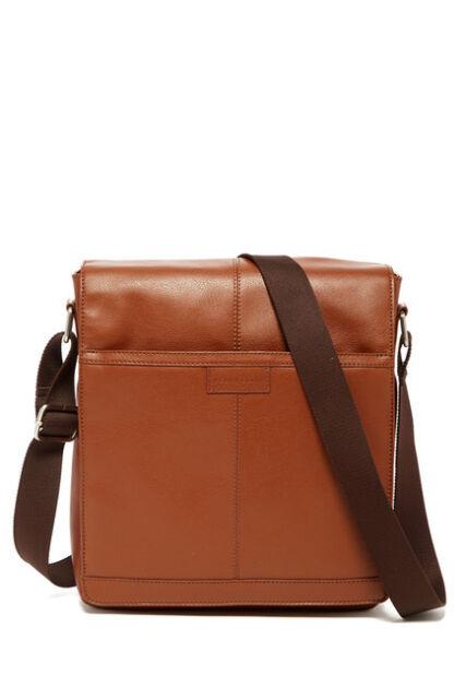 Perry Ellis Nwd Brown Genuine Leather Adjule Strap Cross Body Bag