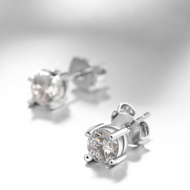 1/2Ct Round Brilliant Cut Stud Earrings in 14K White Gold Plated with Swarovski