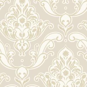 Rasch Gatsby Damas Floral Motif Dore Beige Paillete Papier