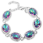 925-Silver-Fashion-Women-MYSTICAL-Rainbow-Oval-Topaz-Gemstone-Pageant-Bracelet thumbnail 1