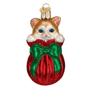 Old World Christmas LETTING THE CAT OUT OF THE BAG (12370)N Glass Ornament w/Box
