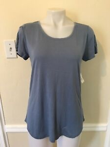 Gap-Luxe-Short-Sleeve-Tee-T-Shirt-Women-s-Top-Blouse-C-Blue-Color-Msrp-25-NWT