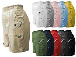 Damen Cargo Shorts (STRETCH) kurze Sommerhose Gummizug luftige Bermuda GR 38-54