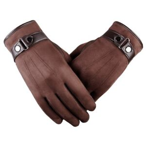 Winter Fashion Men Suede Leather Fleece Lined Thermal Touch Screen Driving Glove