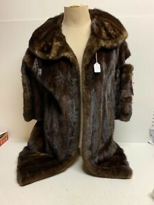 VINTAGE-Mahogany-Long-Hair-MINK-STROLLER-COAT-SZ-8-REPAIR-Parts