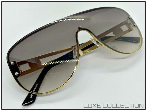 Oversize Retro Designer Shield Style SUNGLASSES Gold Metal Frame Light Tint Lens