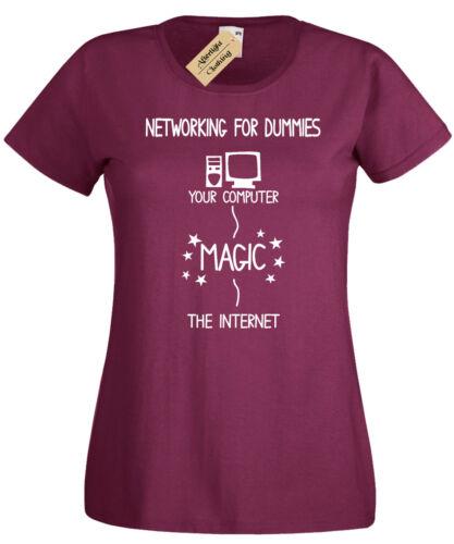 NETWORKING FOR DUMMIES T-Shirt Womens funny geek nerd computer gift programmer