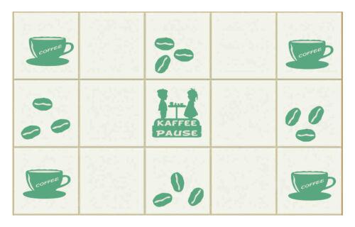 Kaffee und Bohnen  Set 52-teilig Küche Fliesendekor Sticker Aufkleber Wandtattoo