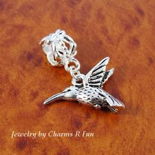 Silver Hummingbird bird charm slider bead for European charm bracelet or neckace