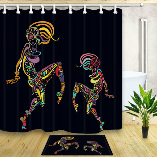 Two African Girl Dancing 70 Waterproof Fabric Shower Curtain Bathroom Mat Hooks Hover To Zoom