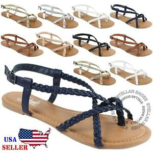 New-Women-s-Strappy-Roman-Gladiator-Sandals-Flats-Crossover-Shoes