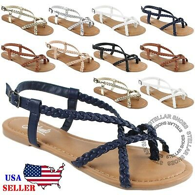 New Women's Strappy Roman Gladiator Sandals Flats Crossover Shoes | eBay