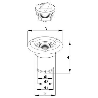 """SEAFLO  1.5/"""" WATER DECK FILL CAP Flange 1.5/"""" WHITE Boat replaces Marpac Tank"""