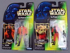 "Star Wars PotF Ponda Baba & Nien Nunb 4"" Action Figures Green Hologram Card NIP"