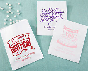 Image Is Loading 60 PERSONALIZED White Birthday Party Goodie Bags Adult