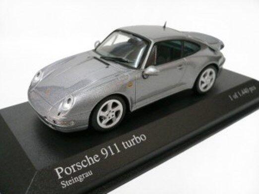 Raro Minichamps PORSCHE 911 993 Turbo steingrau Gris Metálico 143 como nuevo 1/1444