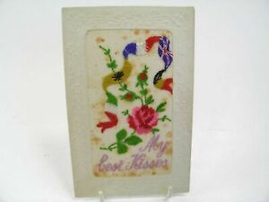 Antique-postcard-valentine-card-embroidered-silk-My-Best-Kisses