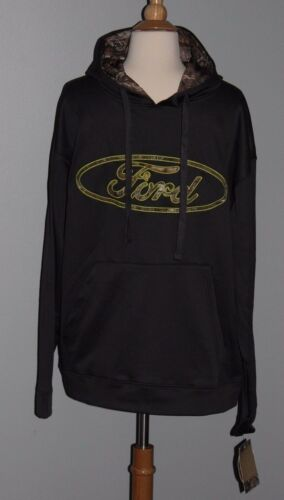 NEW Gray FORD Motor Hoodie Mens Size M L XL Hooded Sweatshirt Realtree Camo Poly