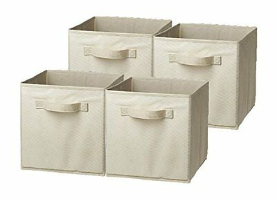 Foldable Storage Cube Basket Bin 4 Pack Box Collapsible Fabric Drawers Organizer