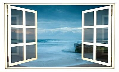 "24"" Window Scape Instant View Beach at Dusk Wall Decal Sticker Graphic Mural NEW"