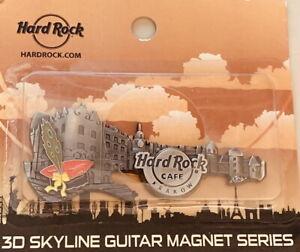 Hard-Rock-Cafe-KRAKOW-2016-3-D-SKYLINE-Guitar-MAGNET-Series-New-Card-SURFBOARD
