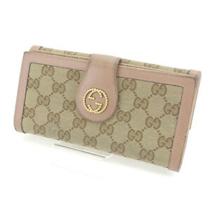 Gucci-Wallet-Purse-Long-Wallet-GG-Beige-Brown-Woman-Authentic-Used-Y4238