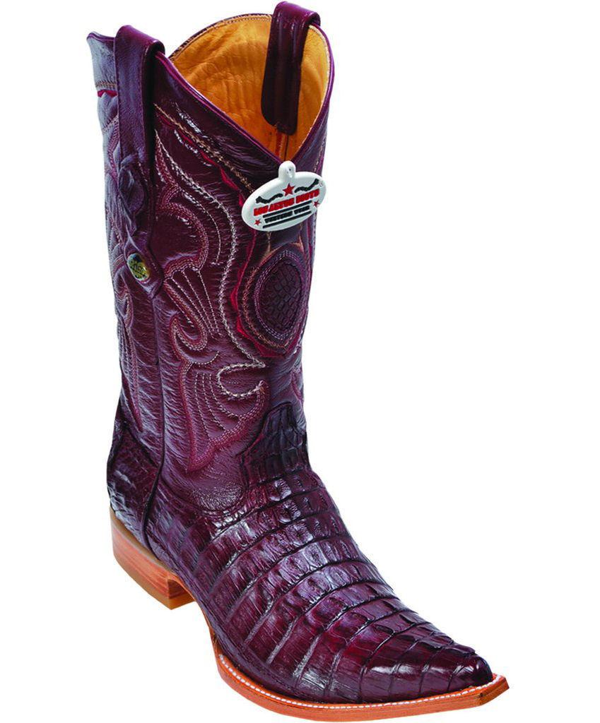 Los Altos Genuine BURGUNDY Caiman CROCODILE Tail 3x Toe Western Cowboy avvio EE