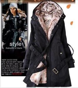 UK Ladies Fur Lining Coat Women Winter Warm Thick Long Jacket ... 5ca46c515